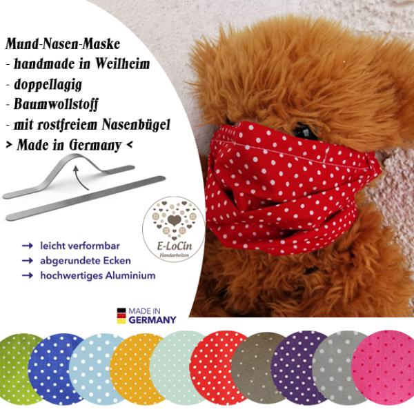 Mund-Nasen-Maske mit rostfreiem Nasenbügel, Bändern und 100 % Baumwolle