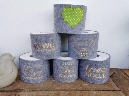 Klopapierrollenbanderole bestickt mit verschiedenen Sprüchen handmade aus Filz