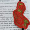 Lesezeichen mit Stickerei Rose und Gummiband