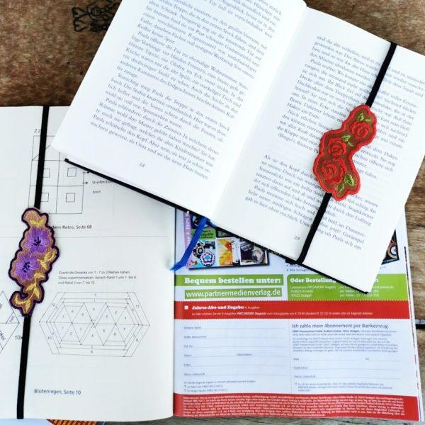 Lesezeichen mit Stickerei und Gummiband für Kochbücher, Magazine und Bücher
