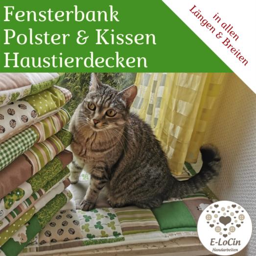 Fensterbankkissen, Polster für Katzen und Haustierdecken in allen Größen handmade aus Patchwork Stoff