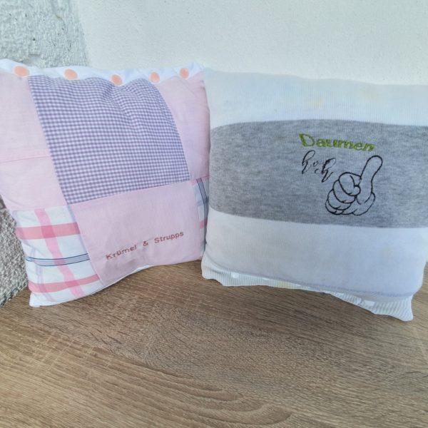 Kissenhüllen aus Pullover und Hemden genäht mit individuellem Stickbild