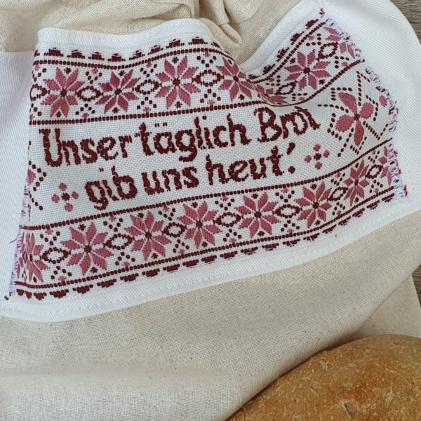 Brotbeutel mit vintage Webbild Stickbild