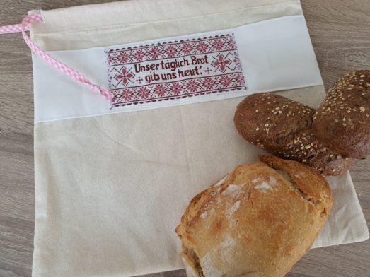 "Brotbeutel mit vintage Webbild Stickbild ""Unser täglich Brot gib uns heut"""