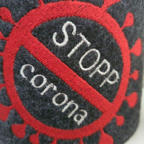 STOPP Corona - witzige Klopapierbanderole, Filzbanderole für Toilettenpapier