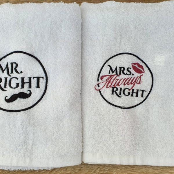 Besticktes Handtuch Mr. und Mrs. Right
